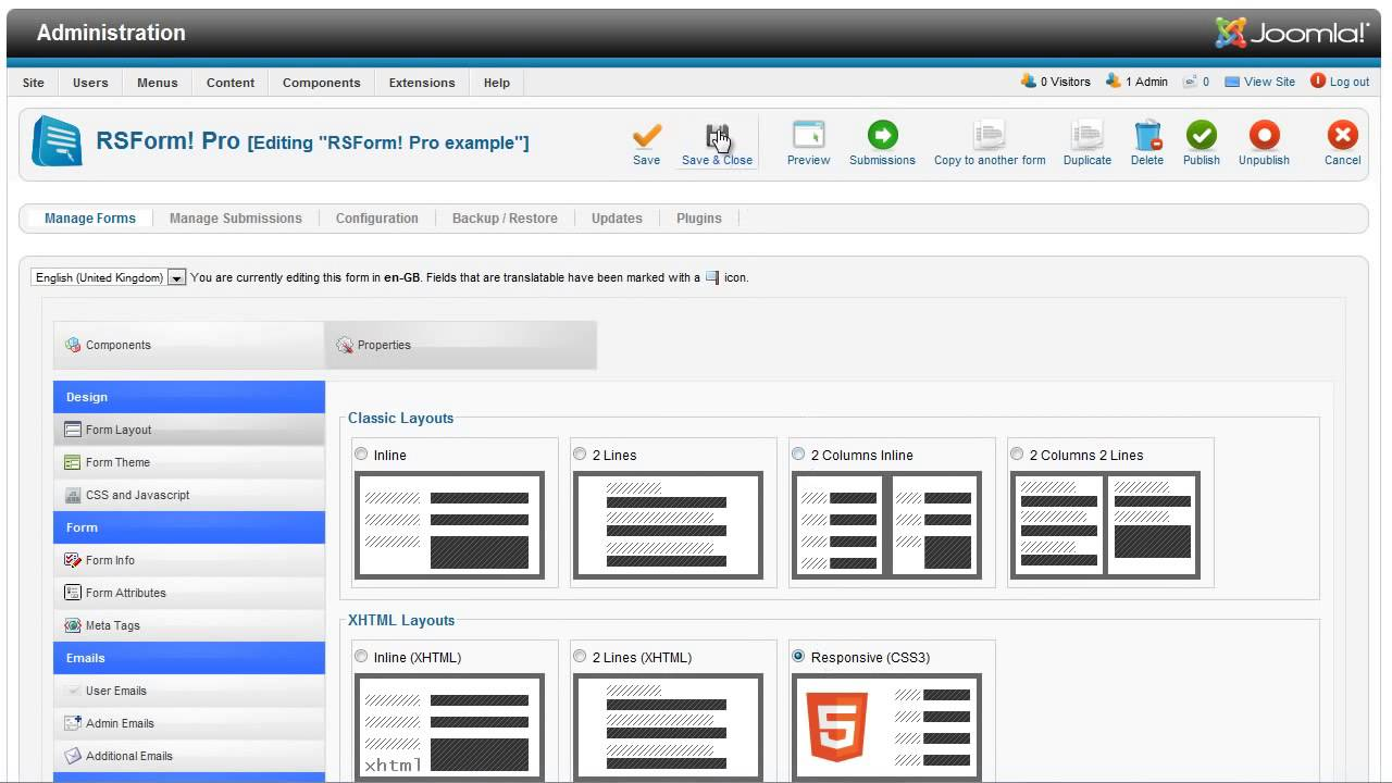 Responsive form layout, PDF and vtiger plugins with RSForm