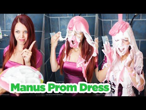 Manu gets a pie in the face in her prom dress