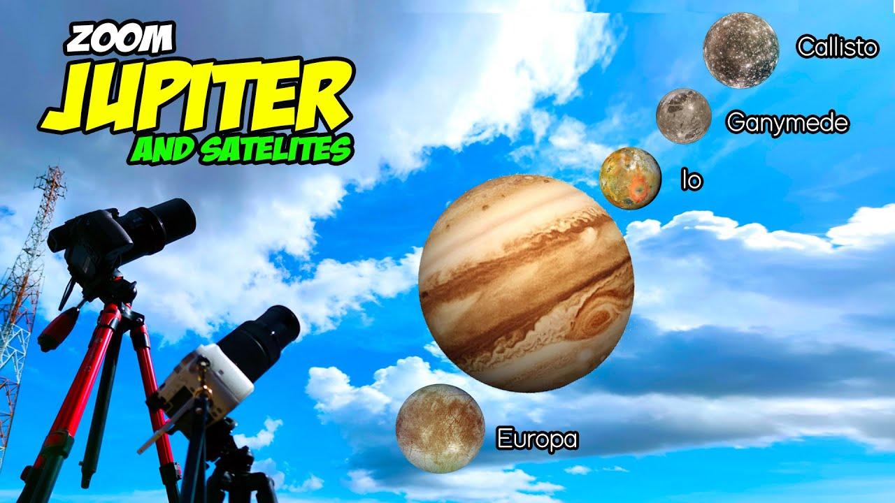 ZOOM JUPITER & SATELIT (Europa, Io, Ganymede & Callisto Moon) NO TELESCOPE