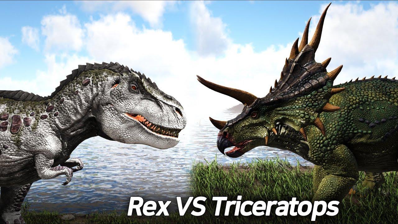 25 Rex vs 100 Triceratops, 렉스 vs 트리케 - ARK Survival Evolved(Ver.2021)