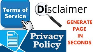 How to generate Privacy Policy, Terms of Service and Disclaimer Page and add to website  | Okey Ravi