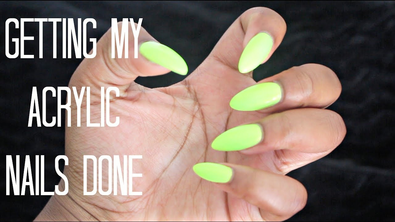 Getting My Nails Done | Acrylic Almond Shape - YouTube