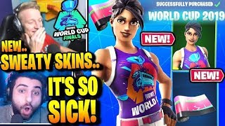 STREAMERS REAGEM AO NOVO FORTNITE WORLD CUP SKINS & ITEMS! WORLD WARRIOR + WRAP!