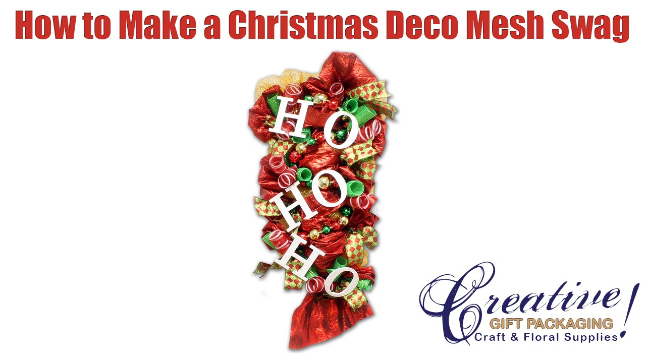 Decorating a Christmas Deco Mesh Swag using a Work Rail - YouTube