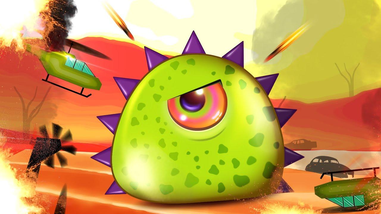 ХИЩНАЯ СЛИЗЬ ест ЛЮДЕЙ приключения в ГОРОДЕ Мультик игра для Детей Mutant Blobs Attack