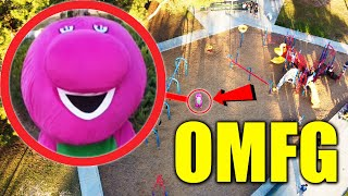 DRONE CATCHES BARNEY.EXE AT HAUNTED PLAYGROUND RUNNING AROUND!! (HE CAME AFTER US!!)