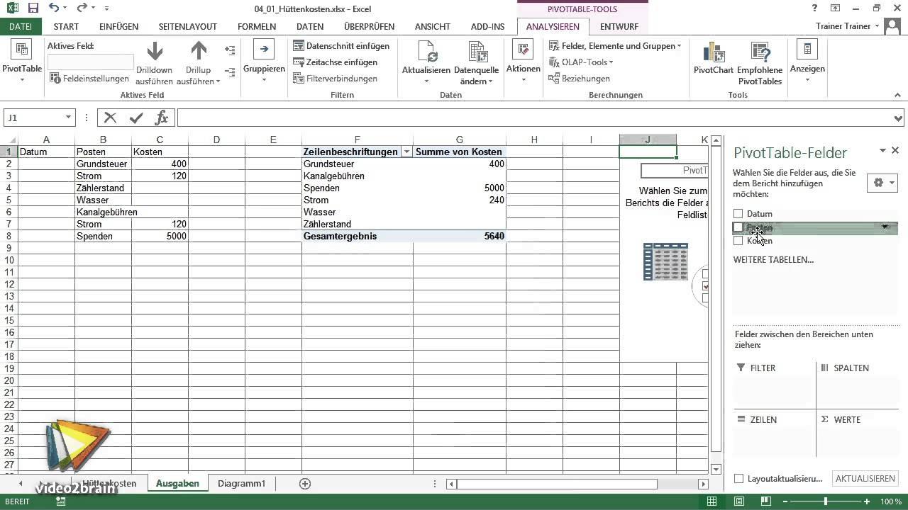 Excel-Workshop: Kassenbuch Tutorial: Pivot-Tabelle anlegen ...