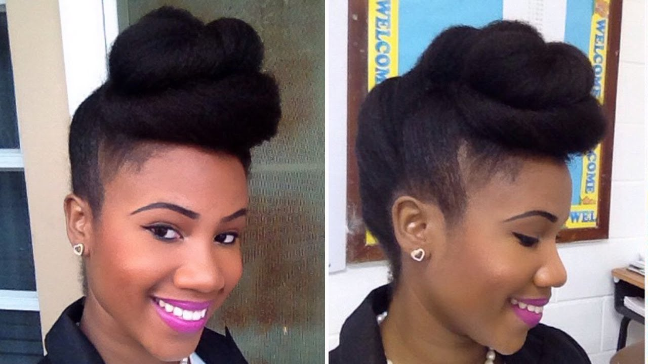 Twisted Pompadour Roll Tuck Pin Updo On Natural Hair Youtube