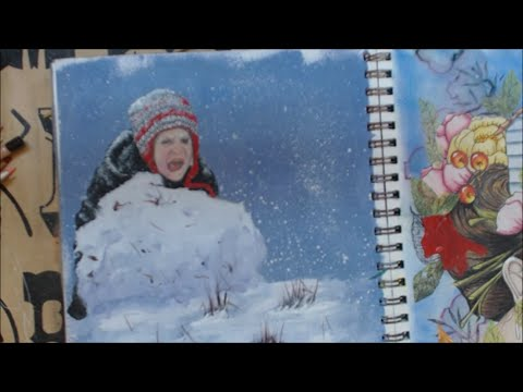 #lovewinterart-acrylic-paint-and-color-pencil-art-journal-page
