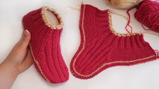 Следки – носки с бусинками спицами 🦀 Slippers - Socks knitting pattern