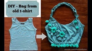DIY - Bag from old t-shirt   Recycle old cloths   Easy step-by-step Tutorial