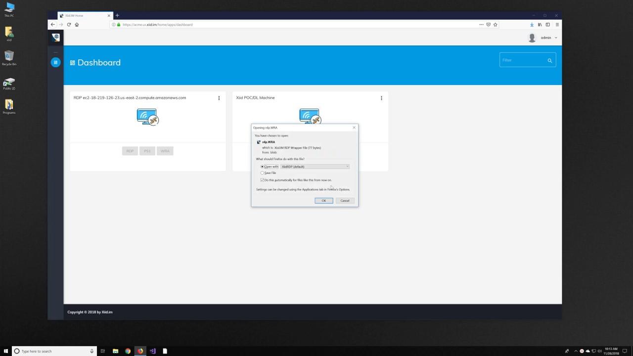 Remote Desktop (RDP) using One-time Passwords (OTP) via