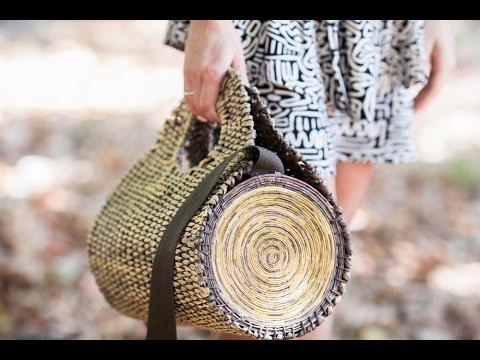 Плетёная сумка полено из бумажной лозы