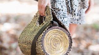Плетёная сумка ''полено'' из бумажной лозы