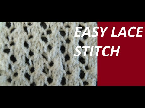 Knit Pattern Very Easy Lace Stitch Youtube