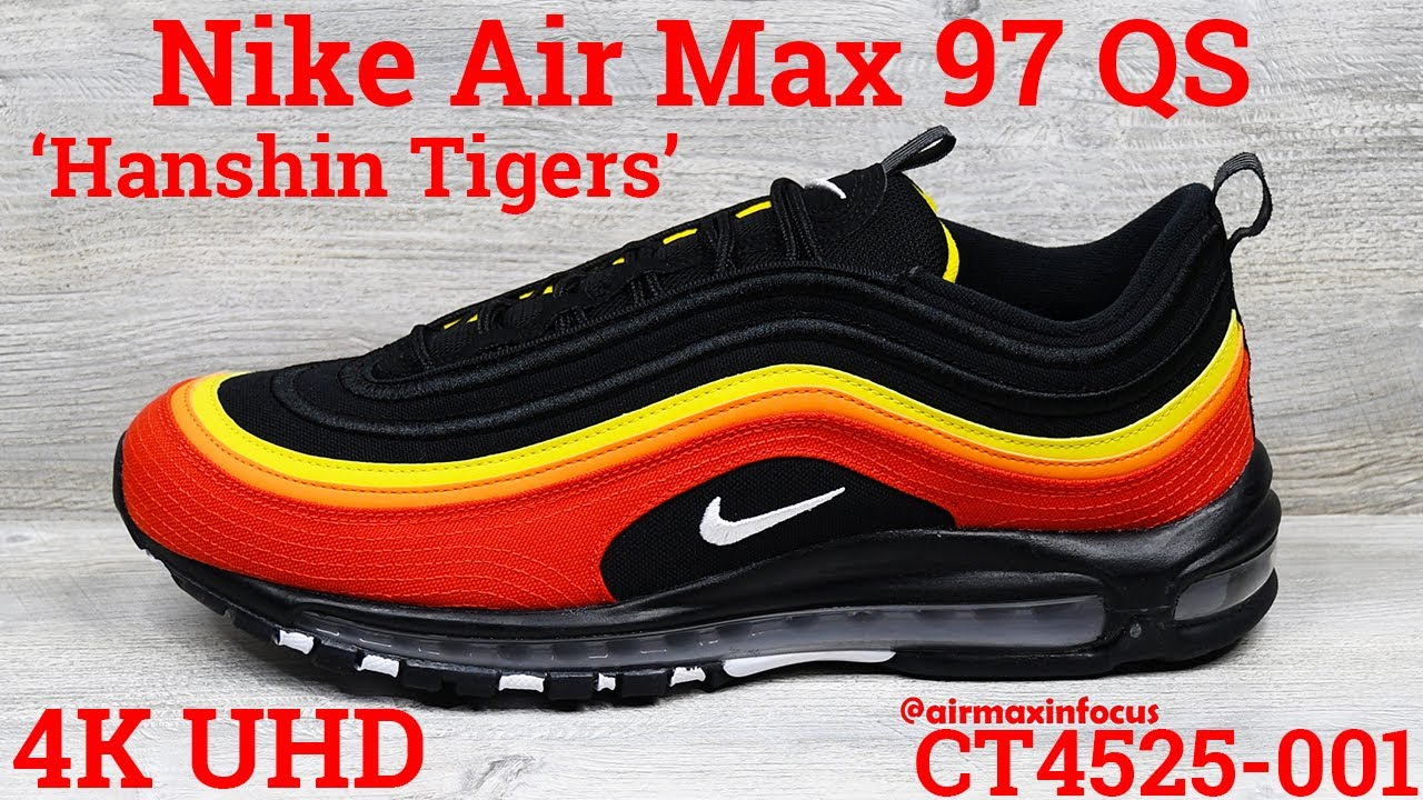 4k Nike Air Max 97 Qs Hanshin Tigers Ct4525 001 2020 An Unboxing And Detailed Look Black Red Youtube