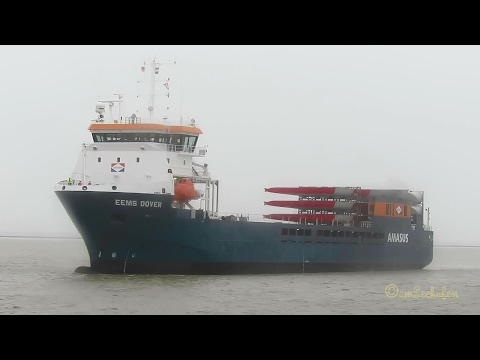 cargo seaship EEMS DOVER ex ABIS DOVER PBYV IMO 9613630  Emden windcraft blades 6 BFT Frachtschiff