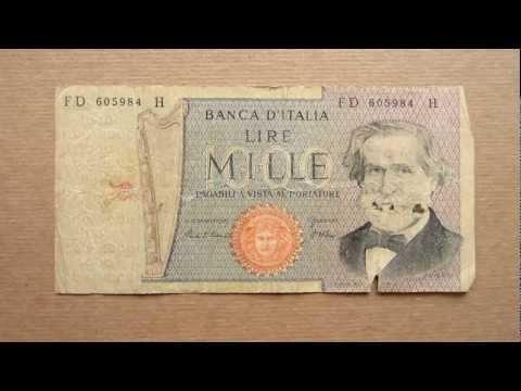 1000 Italian Lire Banknote (Thousand Italian Lire / 1980), Obverse and Reverse