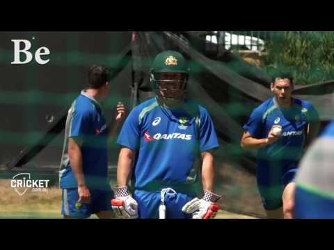 David Warner mic'd up in the nets