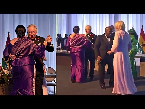 Prince Charles and Camilla dancing at state dinner in Ghana