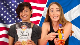 American & Scottish People Swap Snacks