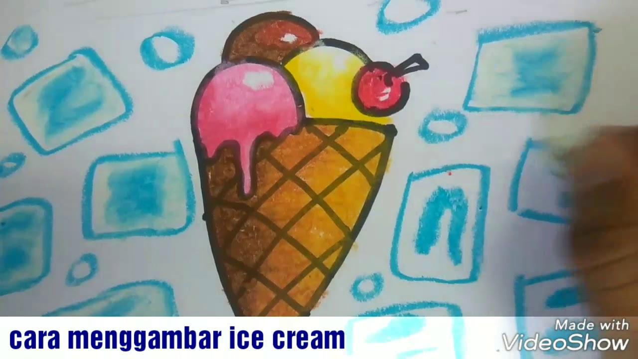 Cara Menggambar Ice Cream Dan Mewarnai Gradasi Dengan Crayon Youtube