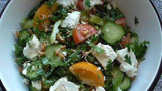Суперэнергетический салат из овощей и пророщенной пшеницы
