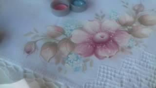 Pintura em tecido. Aprenda pintar flor do campo, botão e folhas suaves
