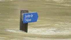 Crue à Riscle le 26 janvier 2014 : sentier de l'Adour, route et champs inondés...