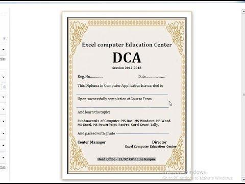 How to Make Certificate Using Microsoft Word 2010 in Hindi - YouTube