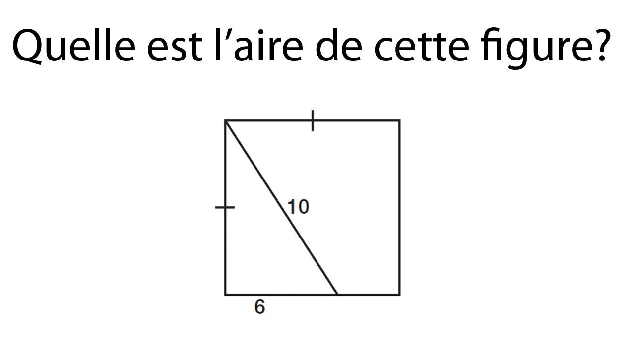 Exercice aire d'un carré, Théorème de Pythagore