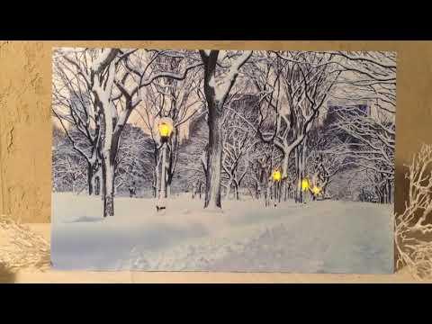 Светящаяся картина СНЕЖНАЯ ПРОГУЛКА - АЛЛЕЯ/В ПАРКЕ, 6 LED-огней, 57х37 см, батарейки 483182