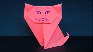 как сделать кошку из бумаги. оригами кошка. origami cat(Как сделать кошку из бумаги., 2016-09-03T09:14:34.000Z)