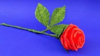 Цветы из бумаги. Розы из гофрированной бумаги. Подарок маме своими руками