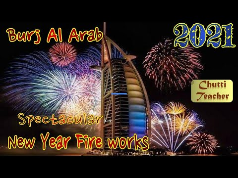 2021 New Year Fire works | Burj Al Arab| Dubai's most iconic hotel, Burj Al Arab at Umm Suqeim beach