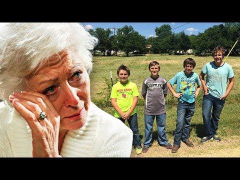 Ältere Frau erwischt 4 Jungen, die sich in den Hof schleichen. Sie weint, als sie merkt, was sie tun
