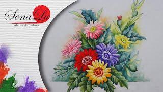 Gérberas Coloridas em tecido (Parte 2) Sonalupinturas