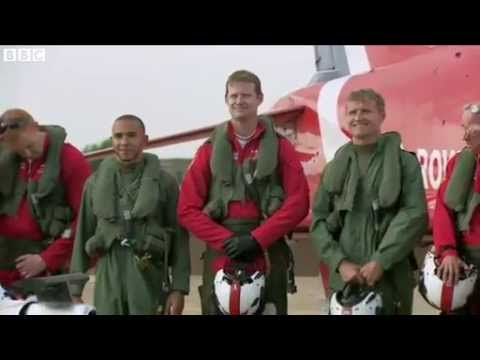 Lewis Hamilton and David Coulthard fly with the Red Arrows