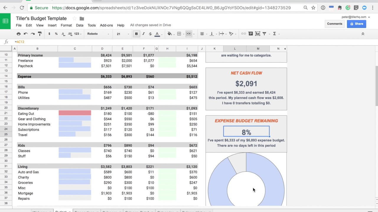 introducing the tiller budget spreadsheet template youtube
