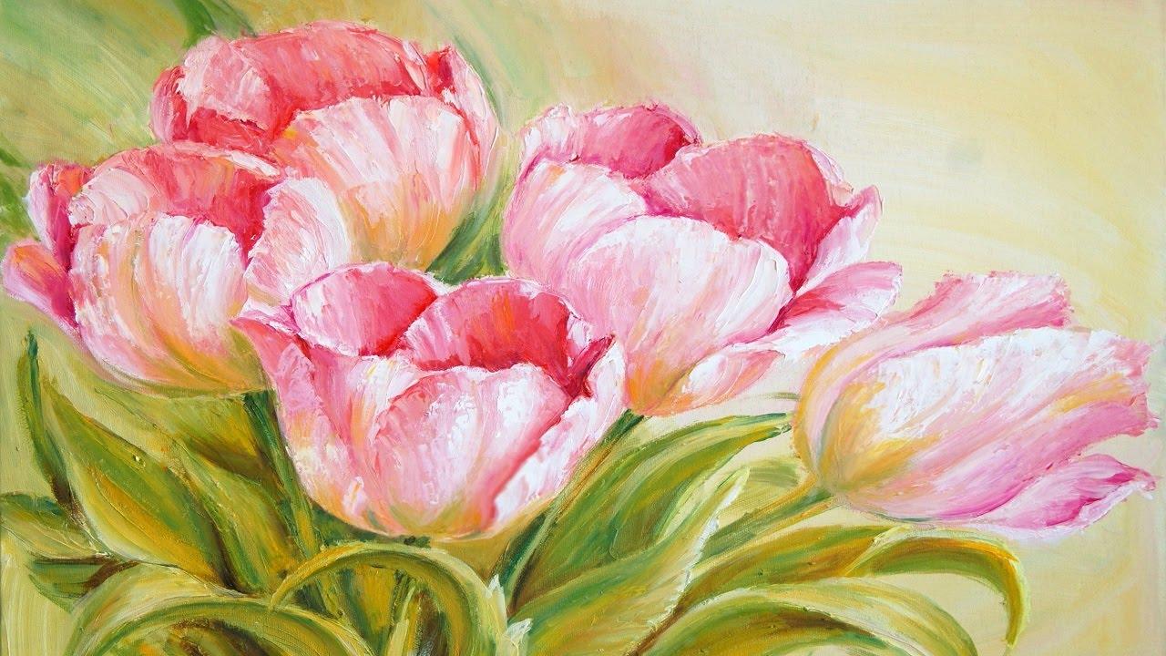 Рисовать красками цветы красивые