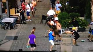 England and russia fans fighting (euro2016) warning! graphic content!