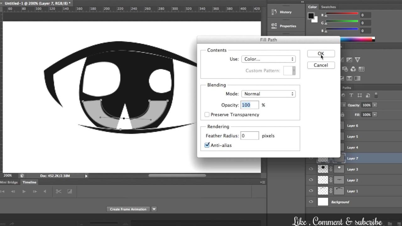 Tutorial membuat vektor kartun photoshop part 2 coloring and shading - Cara Membuat Mata Anime How To Make Anime Eyes Adobe Photoshop