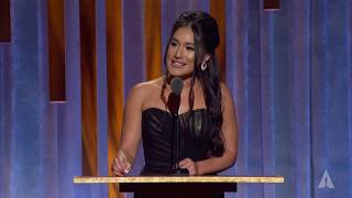 Q'orianka Kilcher Honors Wes Studi At The 2019 Governors Awards