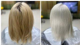 Белоснежный холодный блондин осветление обесцвечивание мелированных волос Snow white cold blond