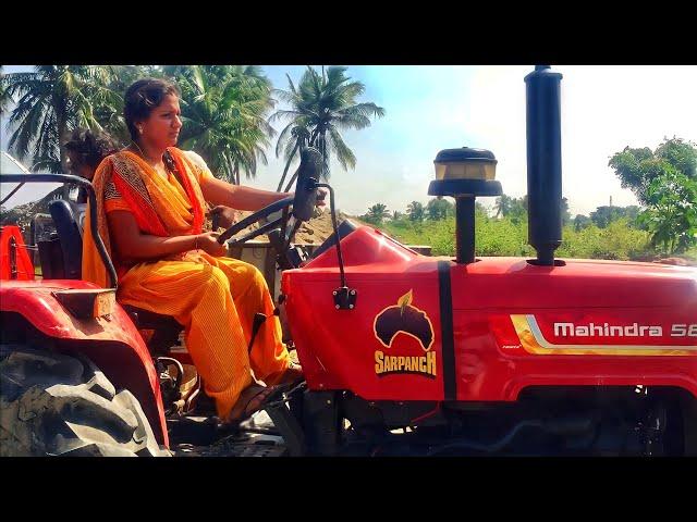 Mahindra 585 DI Sarpanch tractor | Village Girl Driving Tractor Trailer - JCB Machine in India