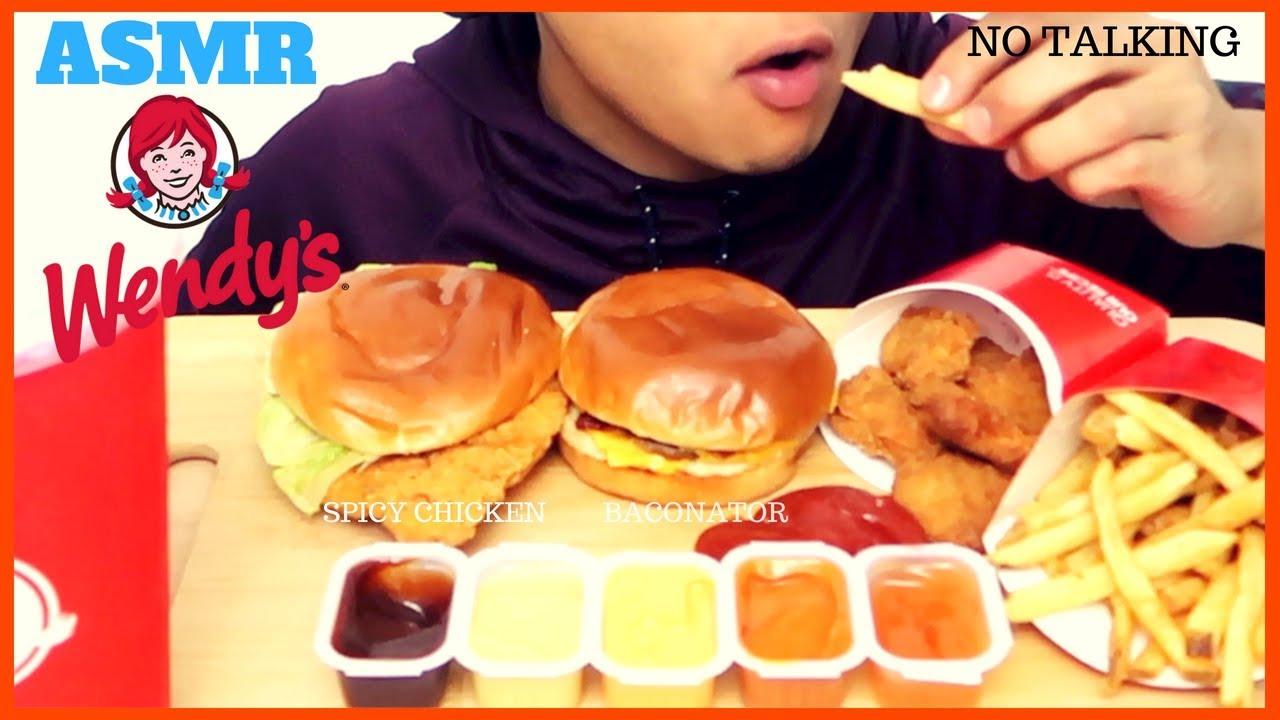 Asmr Wendys Baconator Crispy Chicken Mukbang Intense Satisfying Eating Sounds No Talking