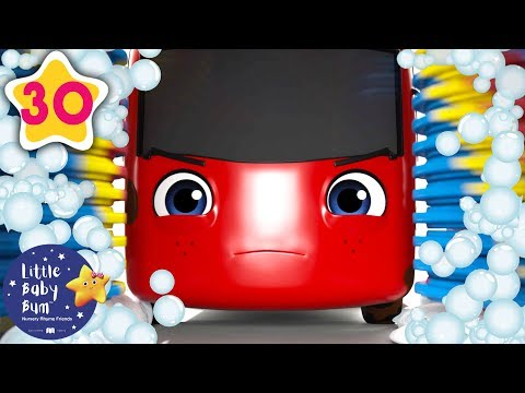 My Little Red Bus and The Carwash | Go Buster | Baby Songs +More Nursery Rhymes | Little Baby Bum