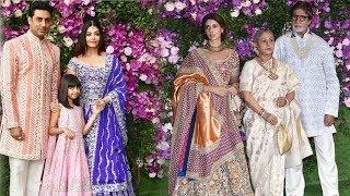 Amitabh Bachchan & Jaya Bachchan With Daughter Shweta @ Akash Ambani & Shloka Mehta GRAND Wedding