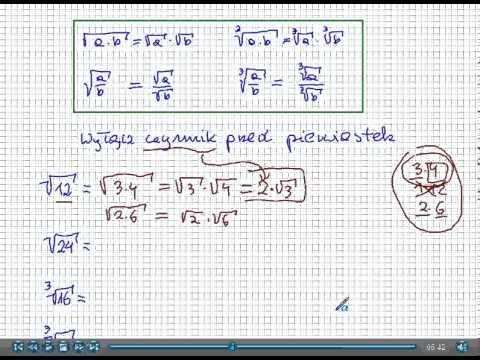 Pierwiastki drugiego stopnia - obliczanie. from YouTube · Duration:  4 minutes 53 seconds
