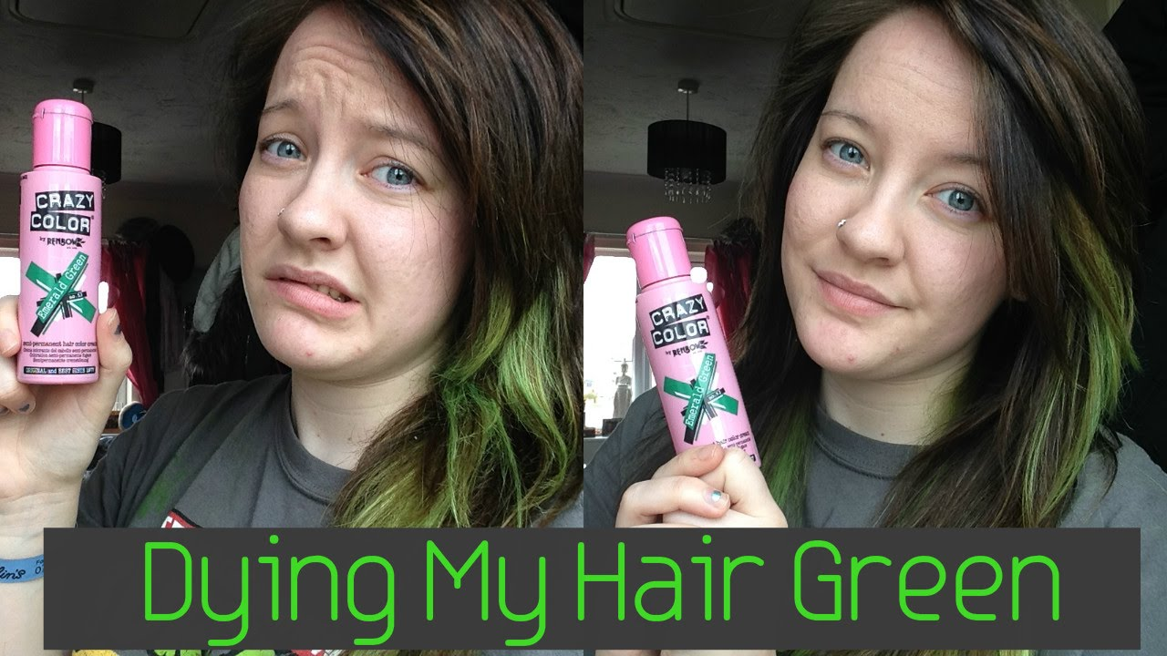 Dyeing My Hair Green Crazy Color Youtube